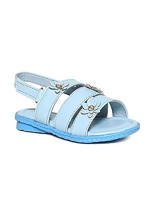 Donuts Blue Girls Flower Accent Strappy Sandals