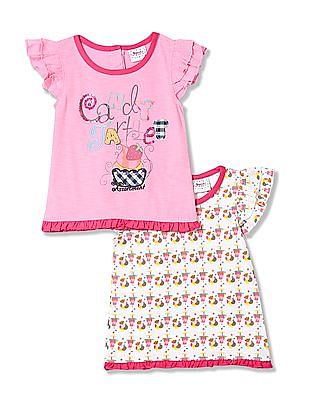 Donuts Girls Cotton Top - Pack Of 2