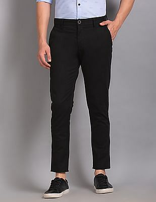 True Blue Black Flat Front Cotton Stretch Trousers
