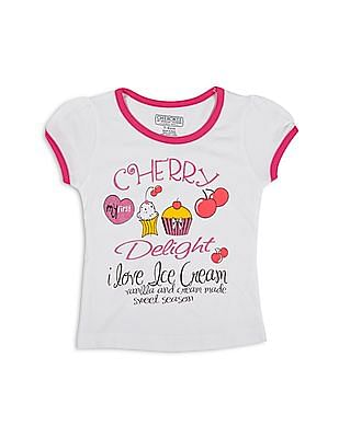 Cherokee Girls Printed Front Contrast Trim T-Shirt