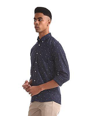 Arrow Sports Blue Button Down Collar Vertical Stripe Shirt