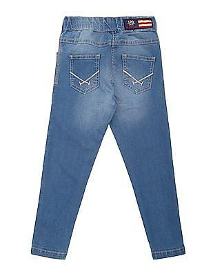 U.S. Polo Assn. Kids Girls Elasticized Waist Slim Fit Jeans