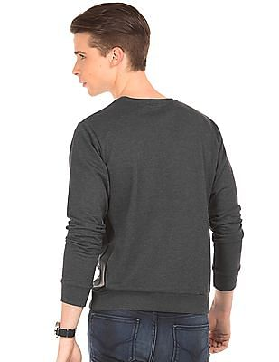 Flying Machine Rubber Print Panelled Sweatshirt