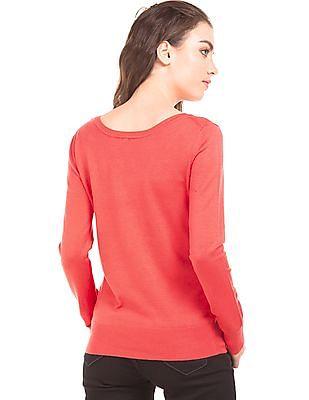 U.S. Polo Assn. Women Solid Regular Fit Sweater