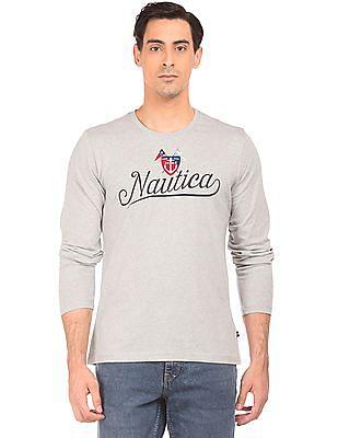 Nautica Brand Print Long Sleeve T-Shirt