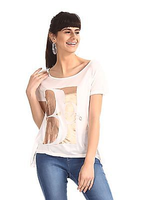 SUGR White Graphic Viscose T-Shirt