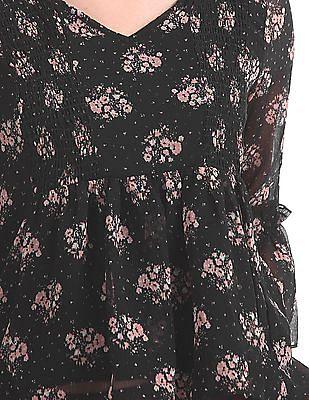 Cherokee Floral Print Smocked Top