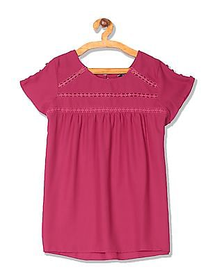 Cherokee Lace Trim Woven Top