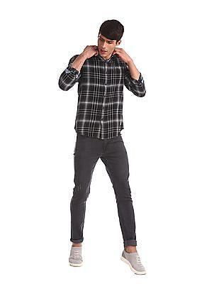 Flying Machine Black Spread Collar Check Shirt
