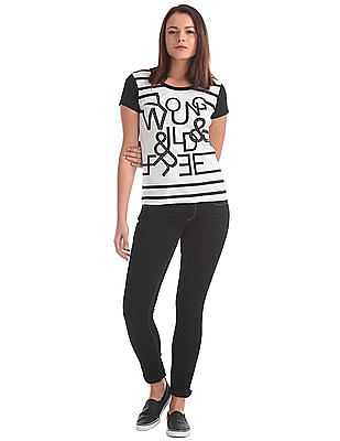 Flying Machine Women Printed Embellished T-Shirt