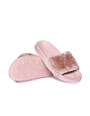 Aeropostale Faux Fur Slide Sandals