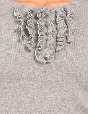 Aeropostale Ruffle Trim Round Neck Sweater