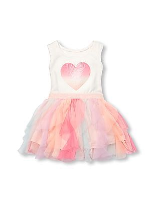 The Children's Place Toddler Girl Sleeveless Sequin Heart Knit To Woven Ruffle Tutu Dress