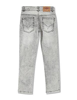 FM Boys Boys Skinny Fit Acid Wash Jeans