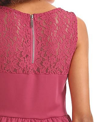 Elle Lace Panel Fit And Flare Dress