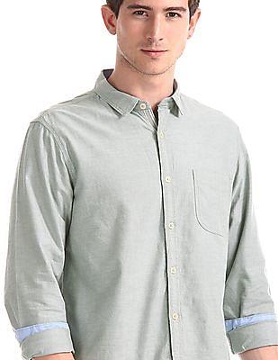 Cherokee Green Mitered Cuff Solid Shirt