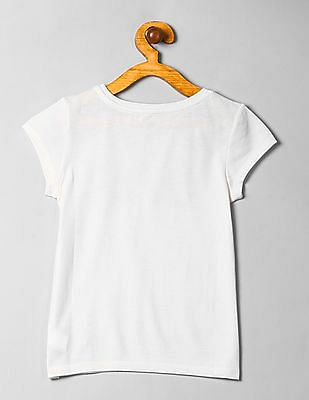 GAP Girls White Logo Short Sleeve Tee