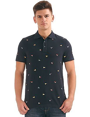 Nautica Short Sleeve Embroidered Flag Polo
