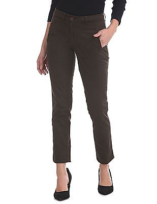 Arrow Woman Slim Fit Flat Front Trousers