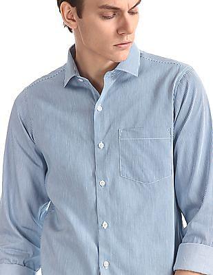 Excalibur Blue Mitered Cuff Vertical Stripe Shirt