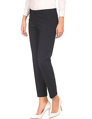 Arrow Woman Solid Flat Front Trousers