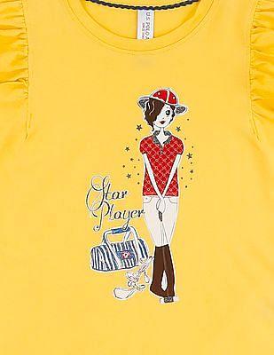 U.S. Polo Assn. Kids Girls Flutter Sleeve Printed Top