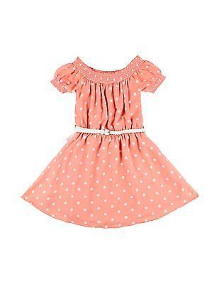Cherokee Girls Polka Dot Off-Shoulder Dress