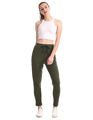SUGR Green Drawstring Waist Solid Track Pants