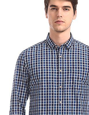 Flying Machine Blue Barrel Cuff Check Shirt