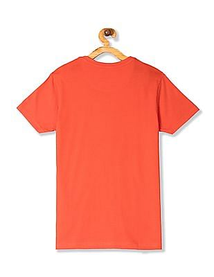 U.S. Polo Assn. Kids Orange Boys Printed Crew Neck T-Shirt