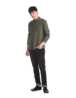 Ruggers Green Barrel Cuff Solid Shirt