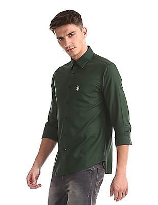 U.S. Polo Assn. Green Rounded Cuff Patterned Shirt