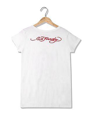 EdHardy Women Standard Fit Studded T-Shirt