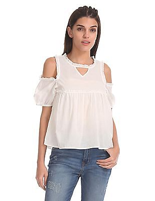 Aeropostale Cold Shoulder Ruffle Trim Top