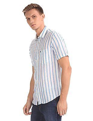 Arrow Sports Vertical Stripe Cotton Linen Shirt