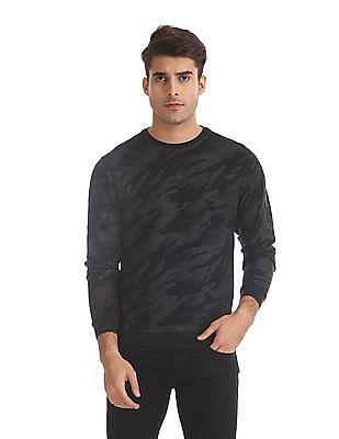 Flying Machine Grey Camo Print Crew Neck Sweatshirt