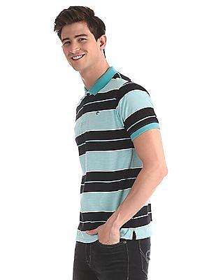 Ruggers Green Regular Fit Striped Polo Shirt