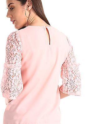 Elle Studio Pink Lace Panel Woven Top
