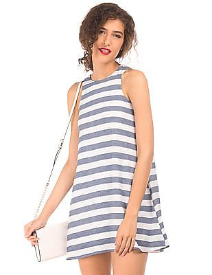 Elle Sleeveless Striped Fit And Flare Dress