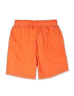 Cherokee Orange Boys Mid Rise Striped Hem Shorts