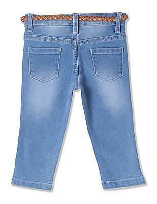 Donuts Girls Belted Washed Jeans