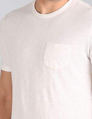 GAP Men White Garment Dyed Slub T-Shirt