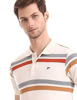 Ruggers White Ribbed Collar Pique Polo Shirt