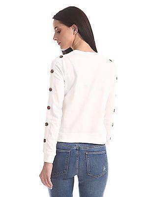 SUGR White Button Accent Floral Print Sweatshirt