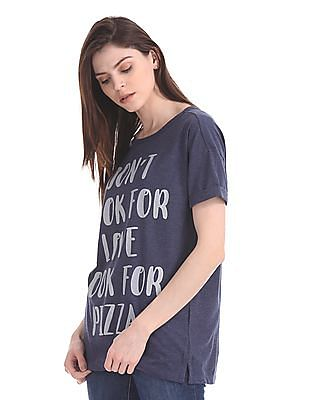 Flying Machine Women Regular Fit Statement Print T-Shirt