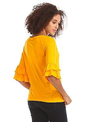 Flying Machine Women Bell Sleeve Boxy Top