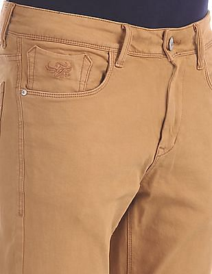 Flying Machine Brown Michael Slim Tapered Fit Mid Rise Jeans