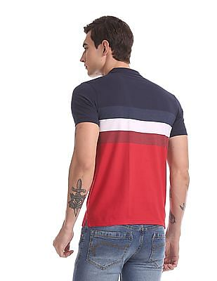 Ruggers Red And Blue Regular Fit Striped Polo Shirt