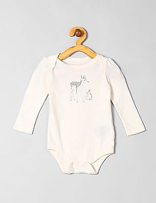 GAP Baby White Deer Picot Bodysuit