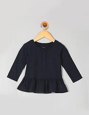 GAP Toddler Girl Blue Shirred Peplum Tee